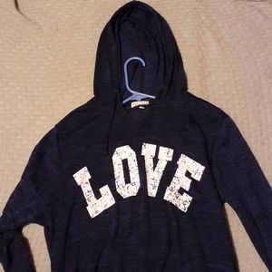 """FEATHERS MATERNITY BLUE """"LOVE"""" HOODIE"""